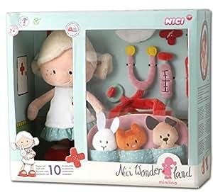 NICI 37188 - Figura de peluche - Minilina 30 cm Set Veterinaria, Juguete Peluche Muñeca Primera Infancia
