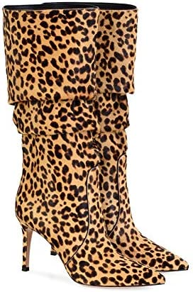 F-JX Damen-Stiefel, Reißverschluß Hohe Stiefel, gut für Breiteres Kalb Fitting, Party Ankle Boot für Arbeit Büro, Reise, Einkaufen, Gelegenheits Week, Party - Brown