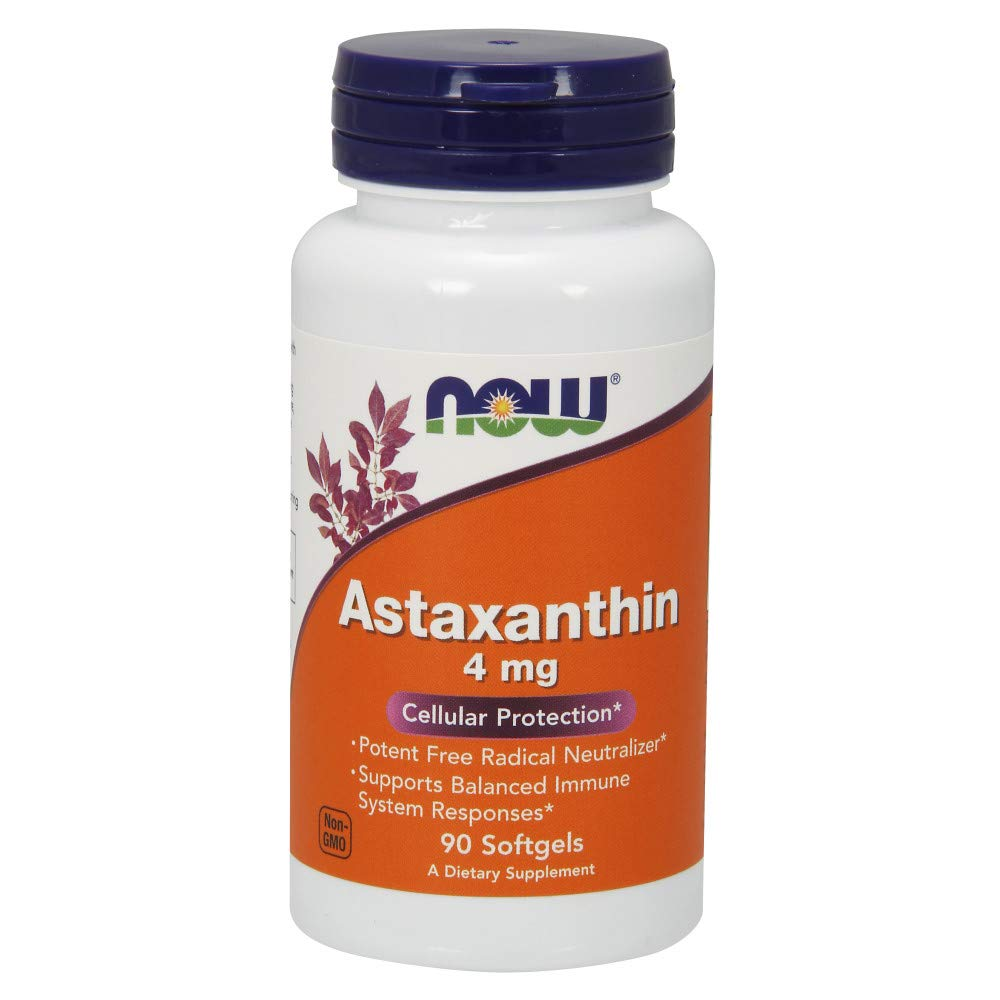 Now Supplements, Astaxanthin 4 mg derived from Non-GMO Haematococcus Pluvialis Microalgae and has Naturally Occurring Lutein, Canthaxanthin and Beta-Carotene, 90 Softgels by NOW Foods