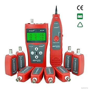 DEHANG - Medidor Comprobador Tester Electrónico de Cables Audio de Teléfono de Red LAN con 8 enchufes de prueba remota pasiva: Amazon.es: Industria, ...