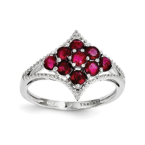 Sterling Silver Rhodium Plated African Ruby Ring