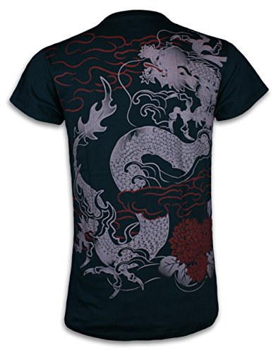 Samurai Tattoo - Ronin T Shirt RyŪ Dragon Japanese Samurai Tattoo Art Buddhism Shinto Japan (L)