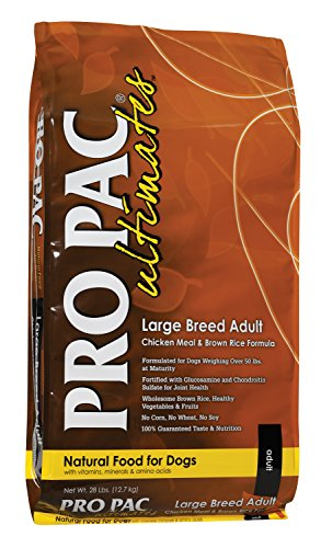 PRO PAC Ultimates Large Breed Adult Chicken Meal and Brown Rice Dry Dog Food, 28 lb. For Sale