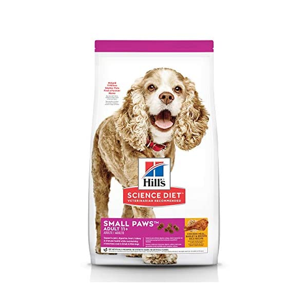 Hill's Science Diet Dry Dog Food, Adult 11+ for Senior Dogs, Small Paws, Chicken Meal, Barley & Brown Rice Recipe, 4.5 lb Bag