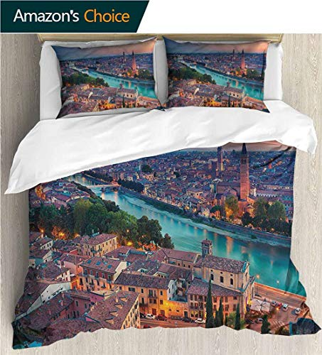 VROSELV-HOME Bedding Sets Duvet Cover Set,Box Stitched,Soft,Breathable,Hypoallergenic,Fade Resistant Bedding Set for Kids,Boys and Teens-European Verona Italy Blue Hour (79