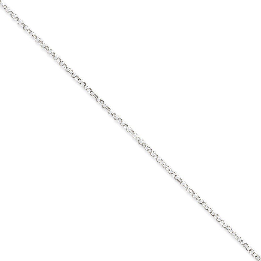 Sterling Silver 2mm Rolo Chain Anklet 9 Inches