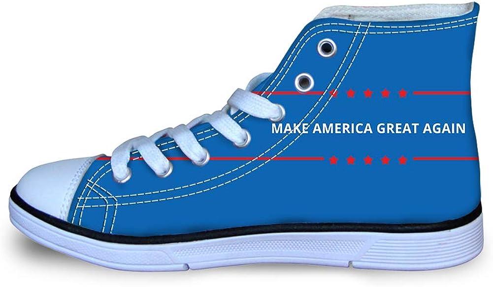 Canvas High Top Sneaker Casual Skate Shoe Boys Girls Make America Great Again