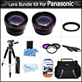 "Lens Bundle For Panasonic HDC-TM700K HDC-SD600 HDC-HS700K HDC-SDT750K HDC-TM900 HDC-HS900 HDC-SD800 Camcorder Includes HD 0.45x Wide Angle Lens w/ Macro Lens + HD 2x Telephoto Lens + 3pc Filter Kit (UV-CPL-FLD) + Case + 57"" Tripod + HDMI Cable +Much More"