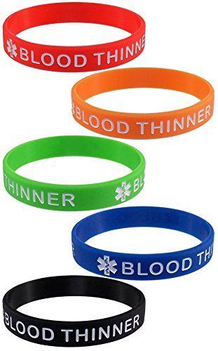 "5 Pack - ""BLOOD THINNER"" Silicone Bracelet Wristbands"