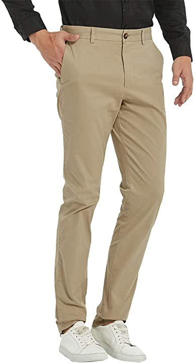 Taloyone Pantalones Chinos Para Hombre Suaves Comodos Con Parte Delantera Plana Pantalones Rectos Pantalones Casuales Suaves Elasticos Pantalones De Viaje Color Caqui 35 X 30 L Amazon Es Ropa Y Accesorios