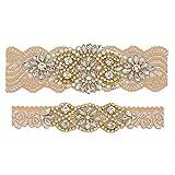 yanstar Wedding Bridal Garter Stretch Lace Bridal Garter Sets with Rhinestones Clear Crystal Pearl for Wedding