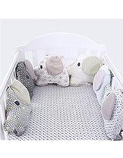 LouisaYork Babybett Kissen, Nestchen, Bumper Betten Set, 27x 34cm, 6Stück (Elefant)