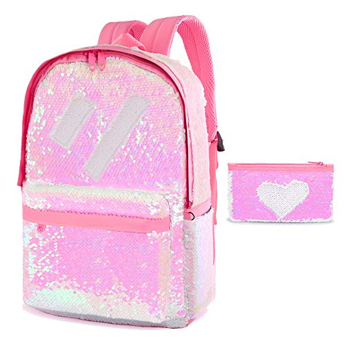 Flip Glitter Backpack for Girls Kids Cute Sequin School Bookbag Back Pack Sparkly(Pink)