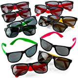Kicko Neon Sunglasses with Dark Lenses - 12 Pack 80's Style Unisex Aviators in Assorted Colors- Toys, Costume Props, Party Favors, Class Rewards, Getaway Accessories for Kids and Adults Alike