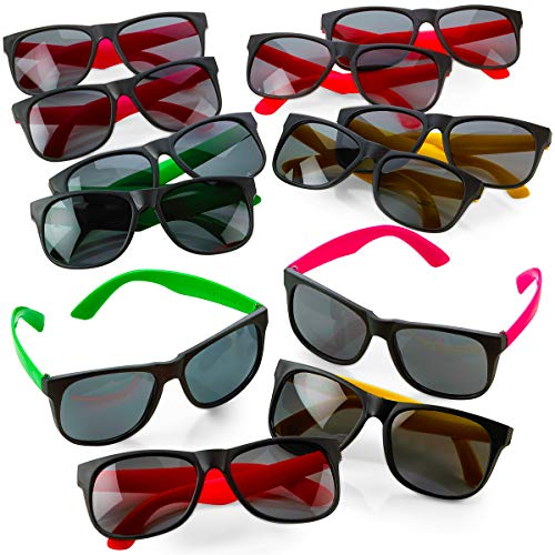 (Kicko Neon Sunglasses with Dark Lenses - 12 Pack 80's Style Unisex Aviators in Assorted Colors - Gifts, Toys, Costume Props, Party Favors, Class Rewards, Getaway Accessories for Kids and Adults Alike)