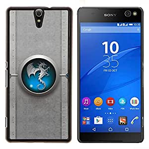EJOOY---Cubierta de la caja de protección para la piel dura ** Sony Xperia C5 Ultra ** --Tribal azul del dragón de Yin yang