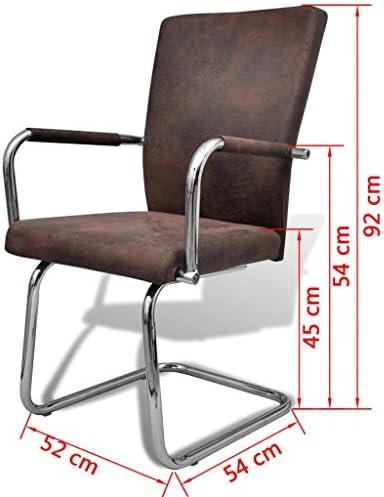 SENLUOWX Chaise de Salle à Manger 2 pcs Cuir synthétique Marron et Taille Totale : 52 x 54 x 92 cm (l x P x H)