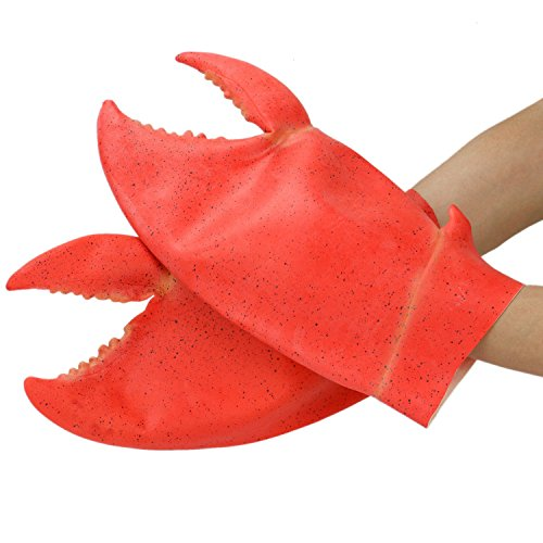 HUELE 1 Pair Halloween Costume Props Latex Giant Crab Claws Novelty Armor Gloves Toy for Adults Kids