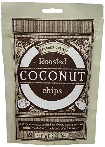 Trader Joe's Roasted Coconut Chips Vegan Gluten Free Matured Coconuts Soaked in Fresh Coconut Milk Product of Thailand 2 Oz / 56 G for Snacking , Unique Salad Topping or Ice Cream Topping