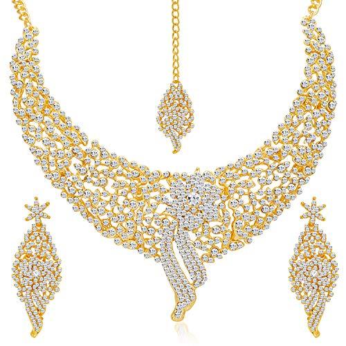 Sukkhi Splendid Gold Plated Wedding Jewellery Austrian Diamond Choker Necklace Set for Women (2103NADM2150-AMZ)
