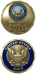 United States Military US Armed Forces Navy Proud Dad - Good Luck Double Sided Collectible Challenge Pewter Coin