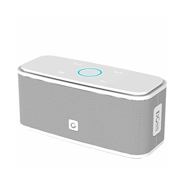 Enceinte Bluetooth 12W, DOSS SoundBox Haut-Parleur Bluetooth sans Fil Portable,Commande Tactile et Définition Stéréo, 12 Heures d'Autonomie en Lecture,Mains Libres Téléphone, Carte TF Support.- Blanc 1