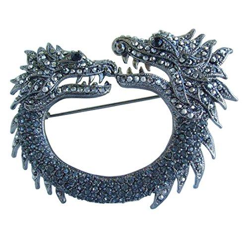 e Dragon Brooch Pin Gray Rhinestone Crystal Black Tone BZ5007 ()