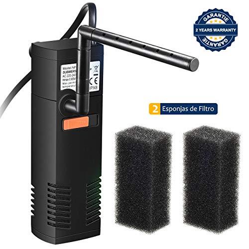 OMORC Filtro Interior 300L/H, Filtro Interno Multifuncional con 2 Esponjas de Filtro Reemplazables para Estanques de Peces o Tortugas de 60L, Ciclo de Agua, Oxigenacion, Flujo Ajustable y Silencioso