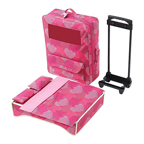(18 Inch Doll Accessories | Travel 2 Doll Backpack Case / Carrier, Includes Heavy duty Trolley, Loads of Storage, and Removable Doll Bed with Bedding | Fits 18
