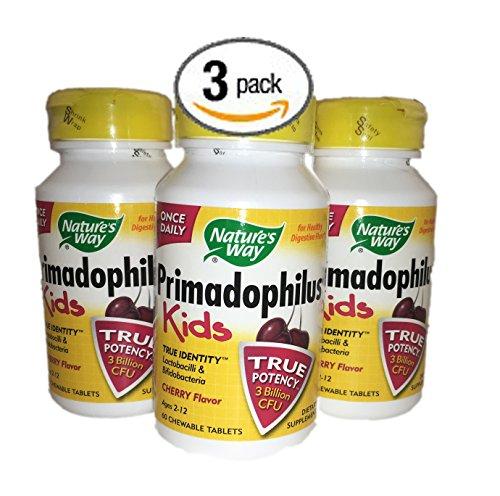 Bundle Pack de 3 Natures Way Once-A-Day Primadophilus Kids Health cerise digestif de probiotiques à croquer aromatisés (180 Total comprimés à croquer)