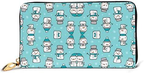 青の冬クリスマス雪だるま雪 本革長財布 ファスナー財布 おしゃれ 大容量 男女共用高級おしゃれなジップレザーウォレットロングハンドバッグ