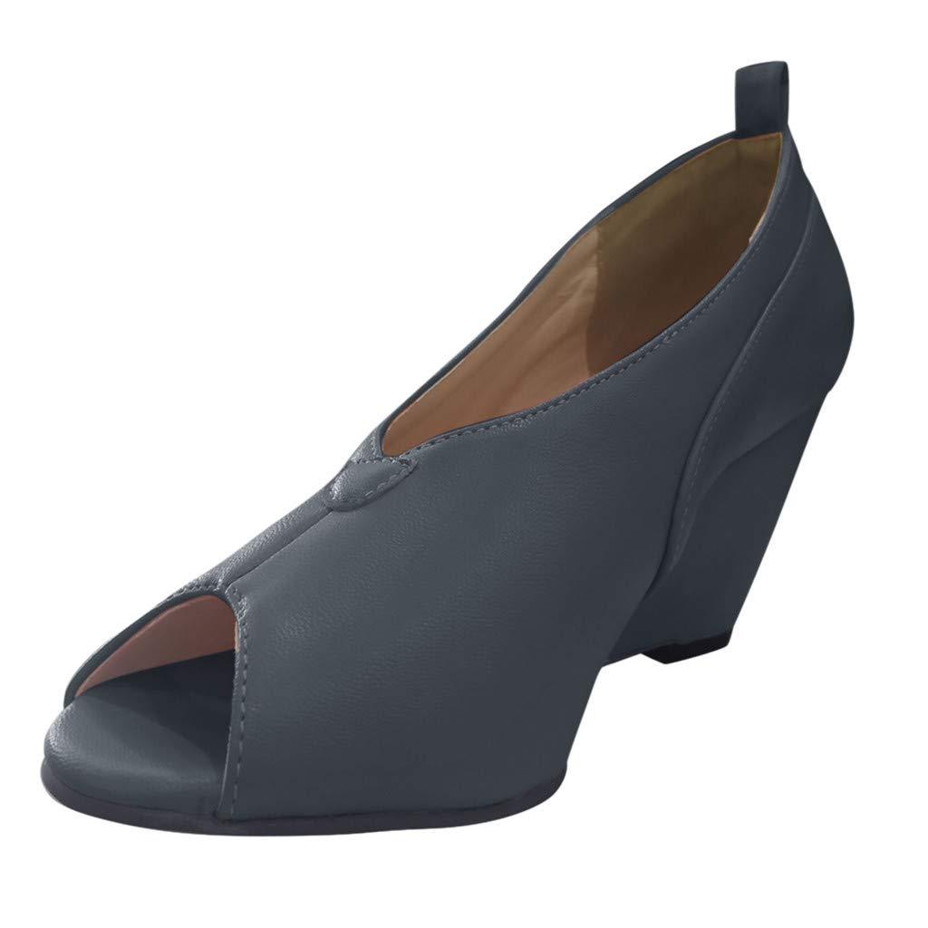 Shusuen Women's High Heel Peep Toe Wedges Sandals Black