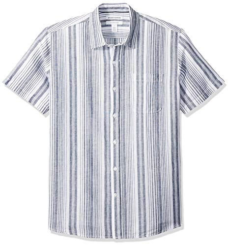 - Amazon Essentials Men's Regular-Fit Short-Sleeve Stripe Linen Shirt, Navy, X-Large