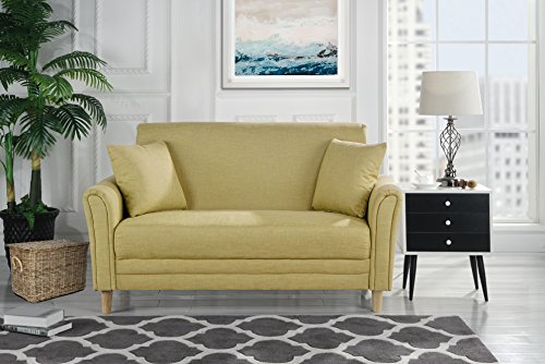 Modern 2 Tone Small Space Linen Fabric Loveseat (Yellow)