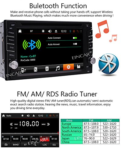 FREE Backup Camera Included + NEW Design Double Din Car Stereo DVD Player GPS Navigation Radio Bluetooth 2 Din Capacitive Touch Screen support USD SD 1080P SWC Car Logo Multi Language Remote Control by EinCar (Image #4)