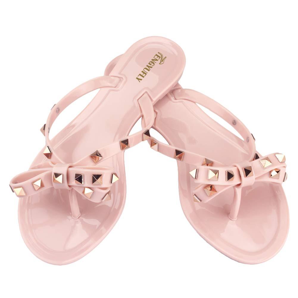 Tengyufly Women's Rivets Bowtie Flip Flops Jelly Thong Sandal Rubber Flat Summer Beach Rain Shoes (US8=EU40=25CM, Pink beige)