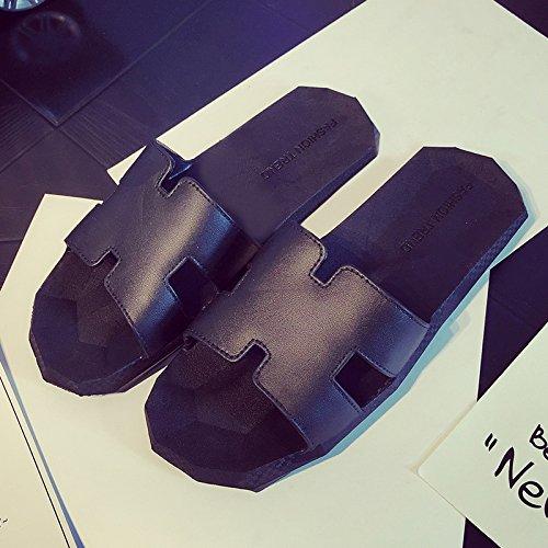 FankouEn el verano, la pareja femenina versátil y zapatillas de baño antideslizante estancia grueso grueso cool pantuflas macho ,39-40, negro