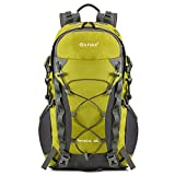 Gonex 40L Outdoor Hiking Climbing Backpack Daypacks Waterproof Mountaineering Bag, Rain Cover Included (Yellow)