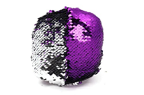 The Original Fidget - Purple & Silver Circle Sequin Pillow Fidget Toy for Sensory Therapy to Relieve Stress and Increase Focus for Adults and Kids. Helps with ADHD ADD Autism by Little Monkey- 1C