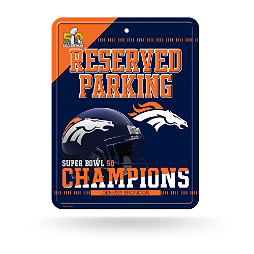 Denver Broncos Parking Sign - Rico Industries NFL Denver Broncos Super Bowl 50 Champions Hi-Res Metal Parking Sign,8.25-Inch by 11-Inch,Blue