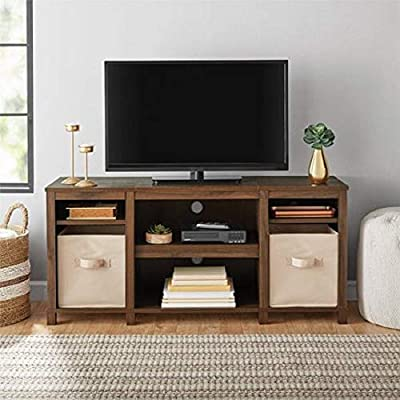 "Mainstay Parsons Cubby TV Stand Holds Up to 50"" TV - Black Oak (Walnut (TV Stand ONLY)) - Holds flat screen TVs up to 50 in. (max weight 55 lbs); 3 adjustable shelves; Six spacious shelves organize your audio components, DVDs, books and more; Back panel wire management holes keep your cords neat and organized; - tv-stands, living-room-furniture, living-room - 51r2NJkNuhL. SS400  -"