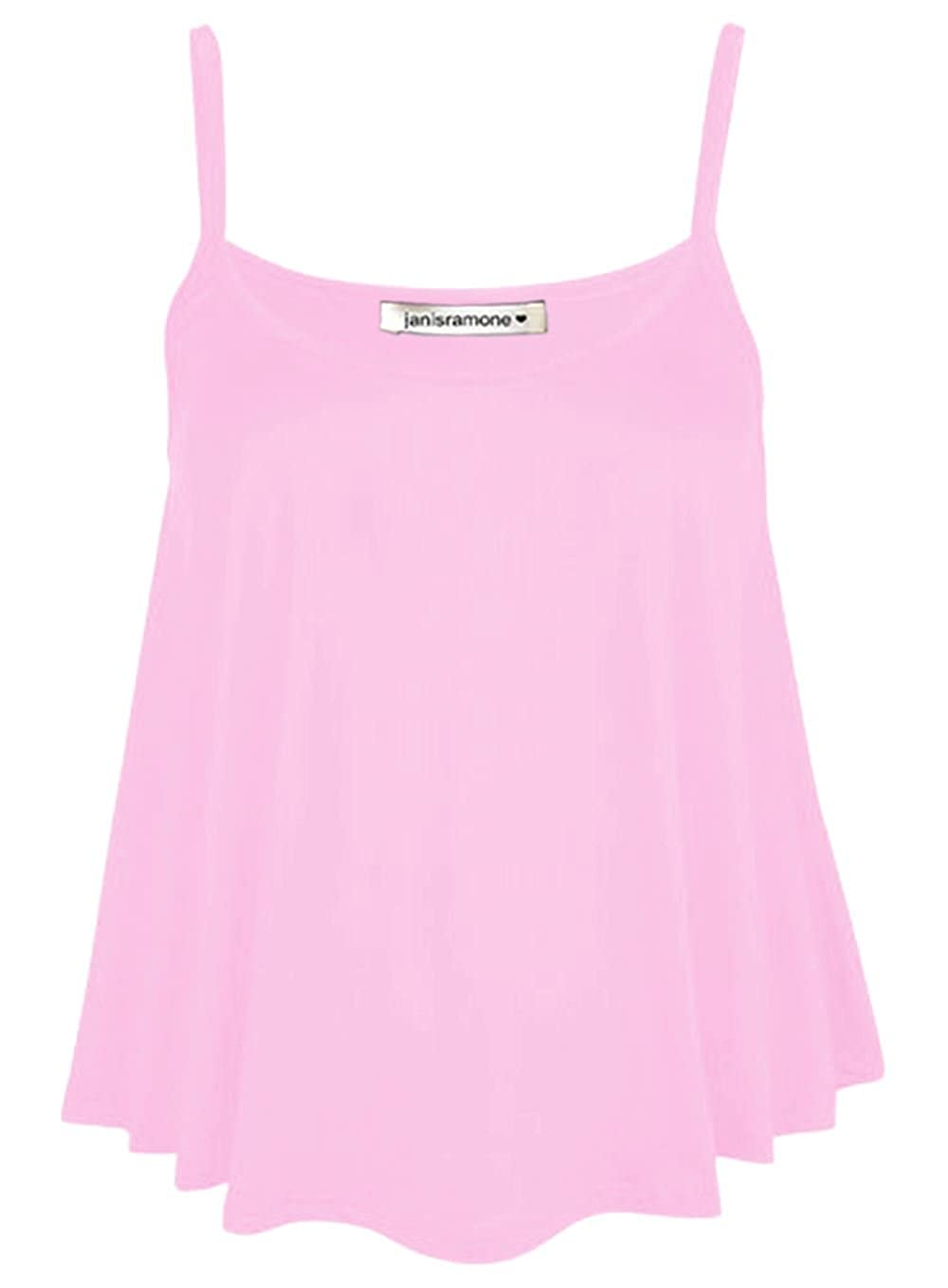 Women/'s Plain Swing Sleeveless Top Strappy Cami Vest Ladies Plus SizeS Flared