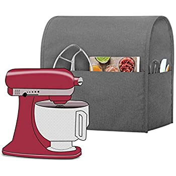 Luxja Dust Cover Compatible with 4.5-Quart and 5-Quart Stand Mixer, Cloth Cover with Pockets for Stand Mixer and Extra Accessories, Gray
