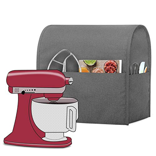 Luxja Dust Cover Compatible with 4.5-Quart and 5-Quart KitchenAid Mixers, Cloth Cover with Pockets for KitchenAid Mixers and Extra Accessories, Gray (Kitchenaid Mixer Covers 5 Quart)