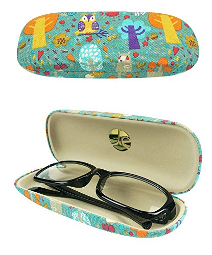 JAVOedge Foxy and Owl Pattern (Blue) Matching Eyeglass Case + Contact Lens Kit Combo (Include Microfiber Cleaning Cloth)