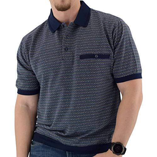Classics by Palmland Short Sleeve 3 Button Banded Bottom Knit Collar Navy - 6191-201 (L, Navy)