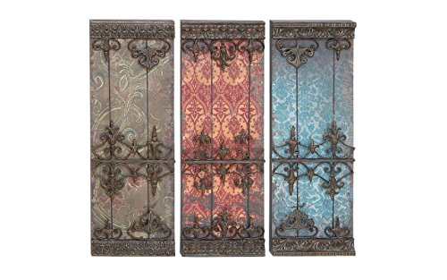 Deco 79 Metal Plaque Wall Decor, 34 by 12-Inch, 3 Assorted Colors
