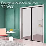 Fiberglass Magnetic Screen Mesh for French Door [Upgraded Vesion 72'W80'L] IKSTAR Double Instant Screen Door with Full Frame Magic Tape Curtain Mesh Mosquito Net Bug Out Fit Door Up to 70'x 79' Max