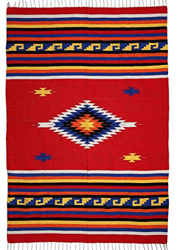El Paso Designs Beautiful Mazatlan and San Miguel Blanket- 5'x7' Heavy Weight, Hand-Woven Blanket with Intricate Mexican Saltillo Diamond (Mitla Red)