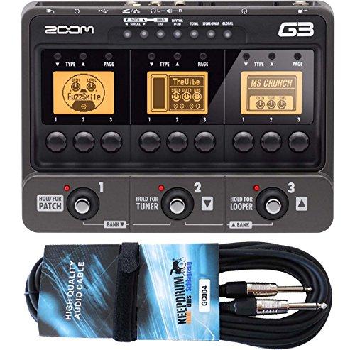 Zoom G3 Gitarren-Multieffektgerät mit Looper, Drumcomputer und Interface-Funktion + KEEPDRUM GC-004 Gitarrenkabel 6m GRATIS!